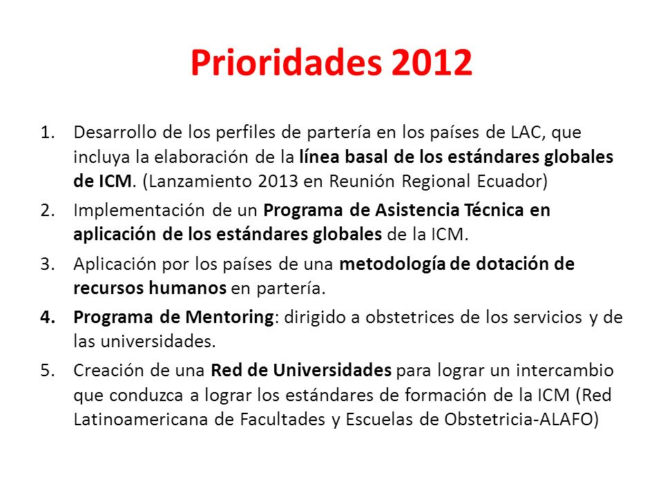 Prioridades 2012
