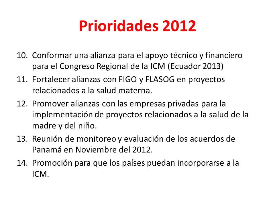 Prioridades 2012 Conformar una alianza para el apoyo técnico y financiero para el Congreso Regional de la ICM (Ecuador 2013)