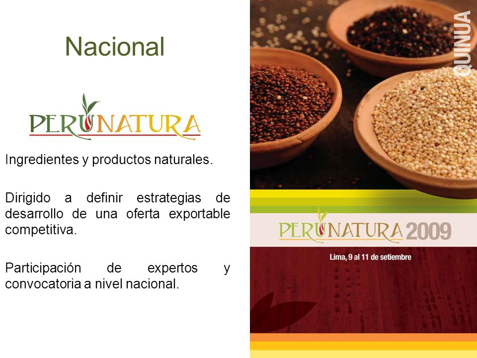 Nacional Ingredientes y productos naturales.