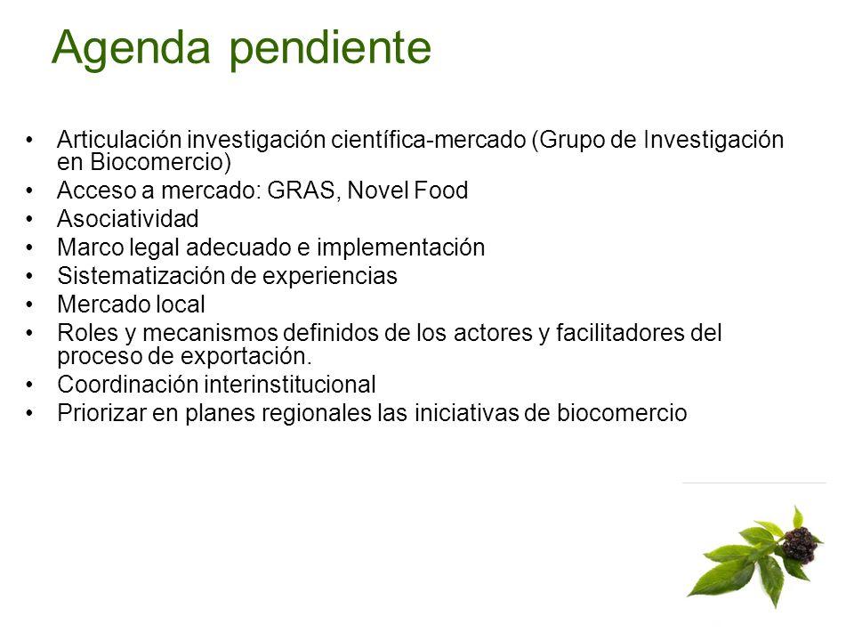 Agenda pendiente Articulación investigación científica-mercado (Grupo de Investigación en Biocomercio)