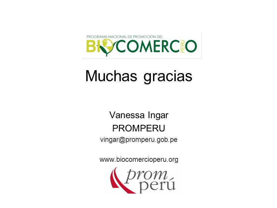 Muchas gracias Vanessa Ingar PROMPERU vingar@promperu.gob.pe