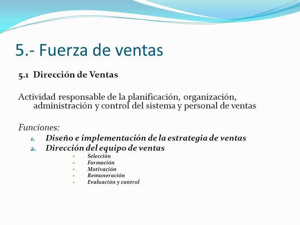 5.- Fuerza de ventas 5.1 Dirección de Ventas