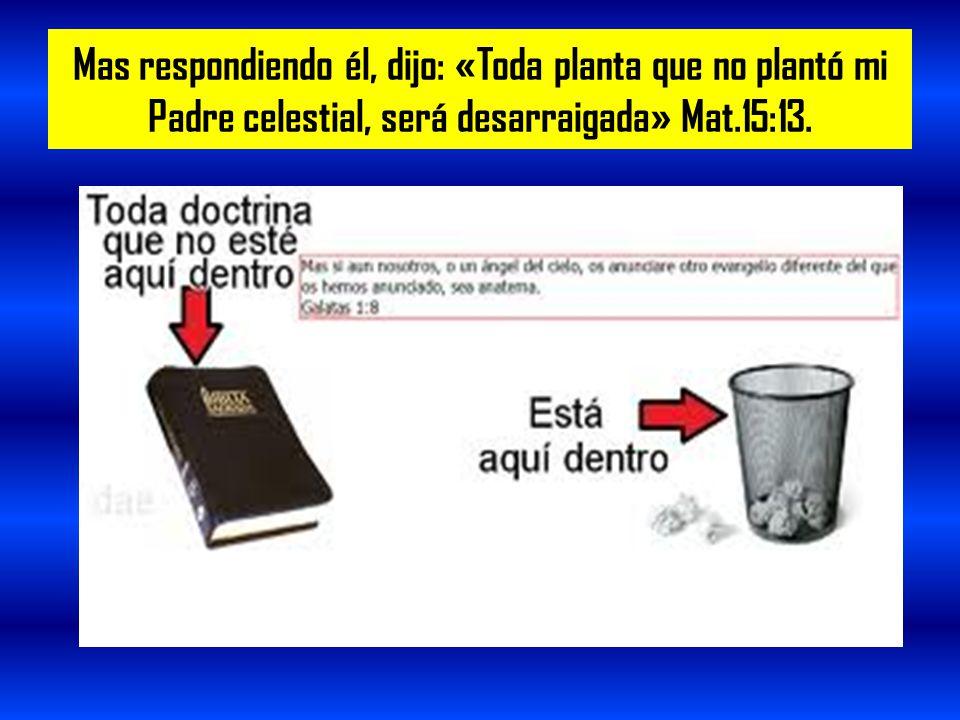 Mas respondiendo él, dijo: «Toda planta que no plantó mi Padre celestial, será desarraigada» Mat.15:13.