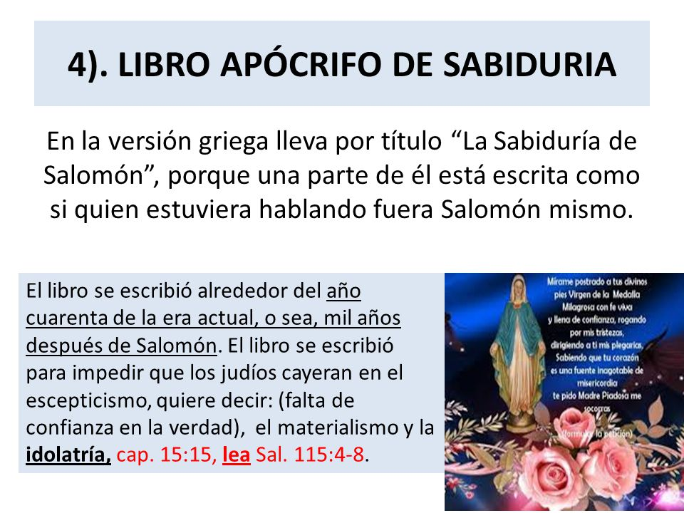 4). LIBRO APÓCRIFO DE SABIDURIA