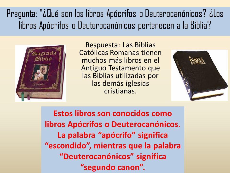 Pregunta: ¿Qué son los libros Apócrifos o Deuterocanónicos