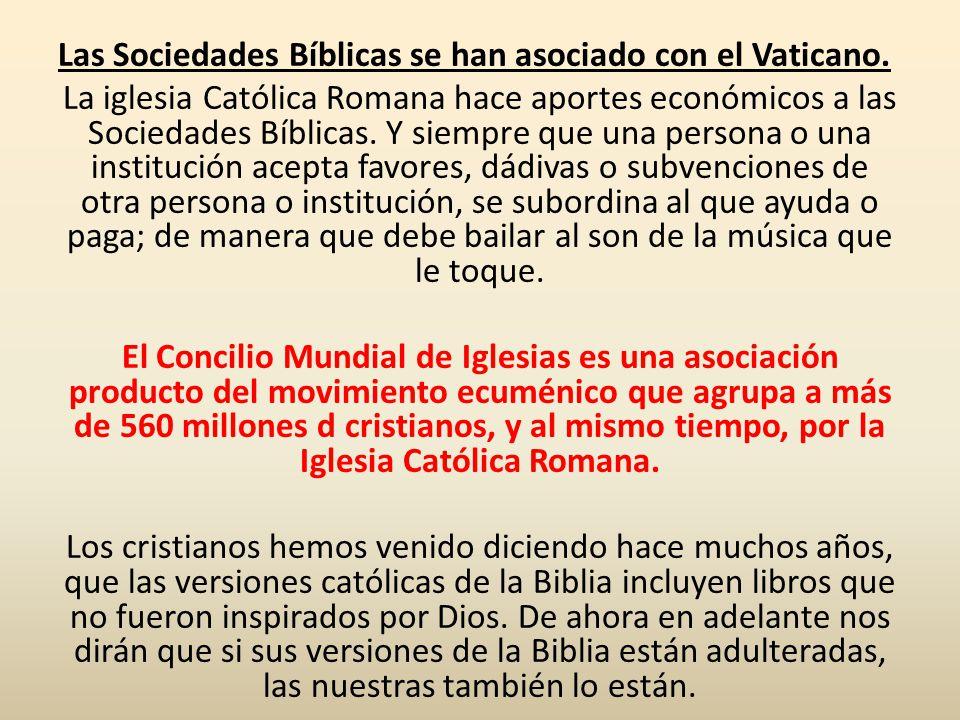 Las Sociedades Bíblicas se han asociado con el Vaticano.