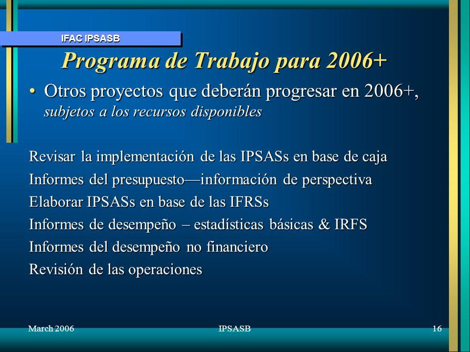 Programa de Trabajo para 2006+