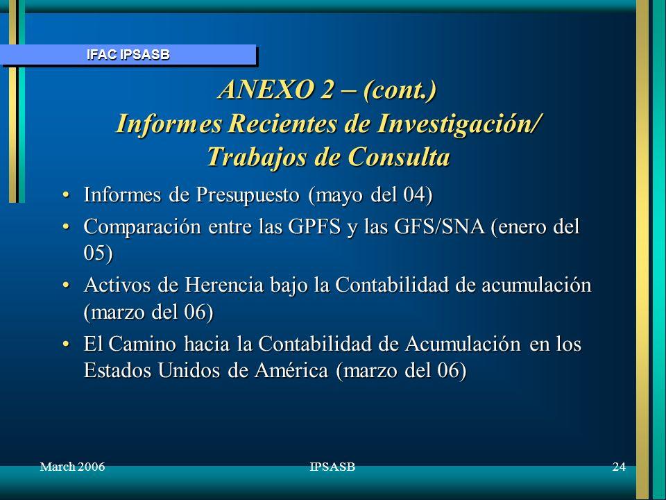 October 2005 ANEXO 2 – (cont.) Informes Recientes de Investigación/ Trabajos de Consulta. Informes de Presupuesto (mayo del 04)