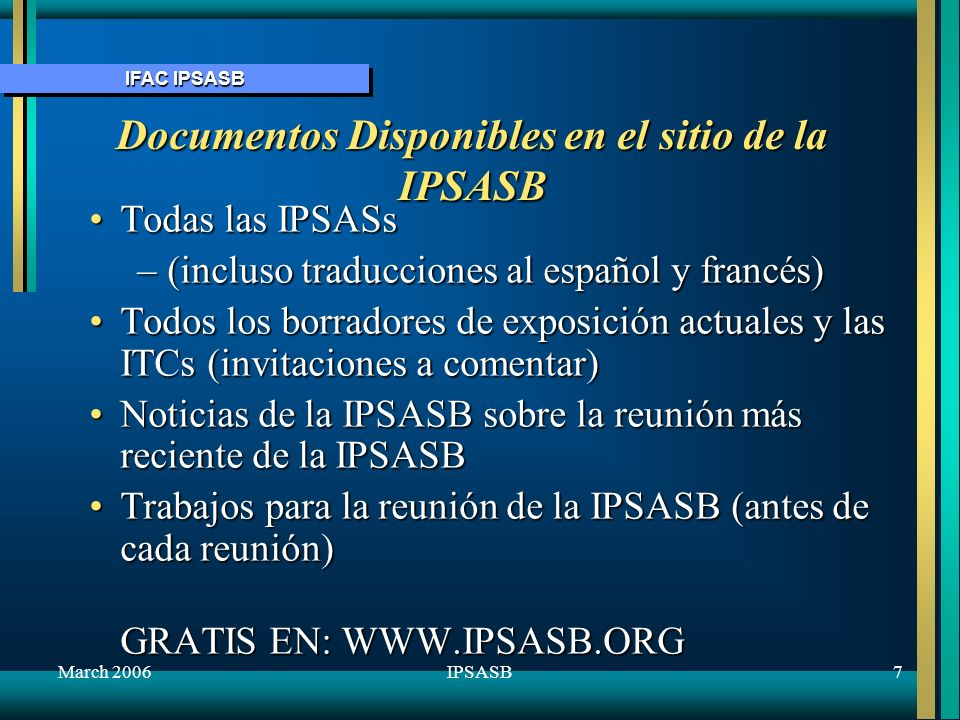 Documentos Disponibles en el sitio de la IPSASB