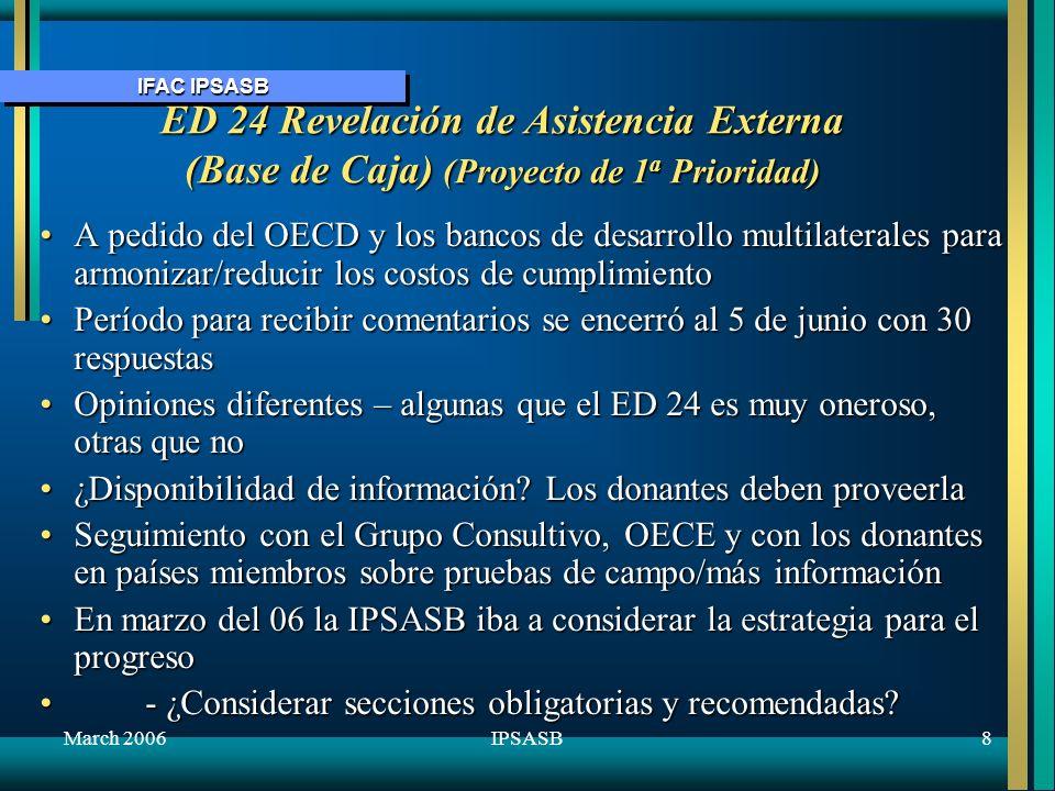 October 2005 ED 24 Revelación de Asistencia Externa (Base de Caja) (Proyecto de 1a Prioridad)