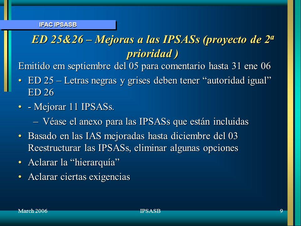 ED 25&26 – Mejoras a las IPSASs (proyecto de 2a prioridad )