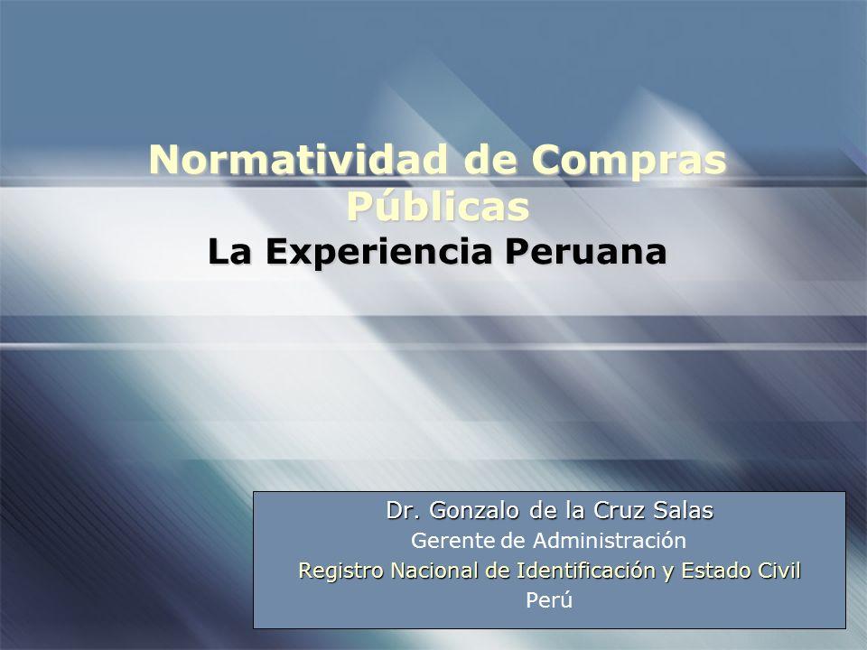 Normatividad de Compras Públicas La Experiencia Peruana