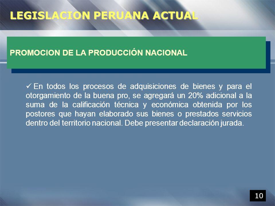 LEGISLACION PERUANA ACTUAL