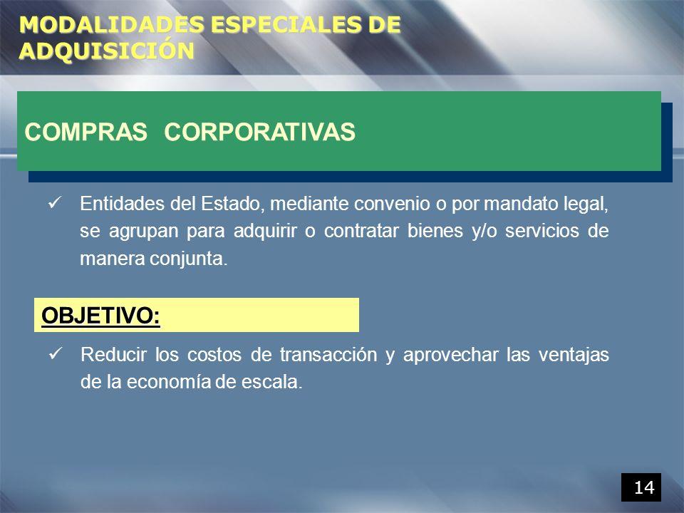 COMPRAS CORPORATIVAS OBJETIVO: MODALIDADES ESPECIALES DE ADQUISICIÓN