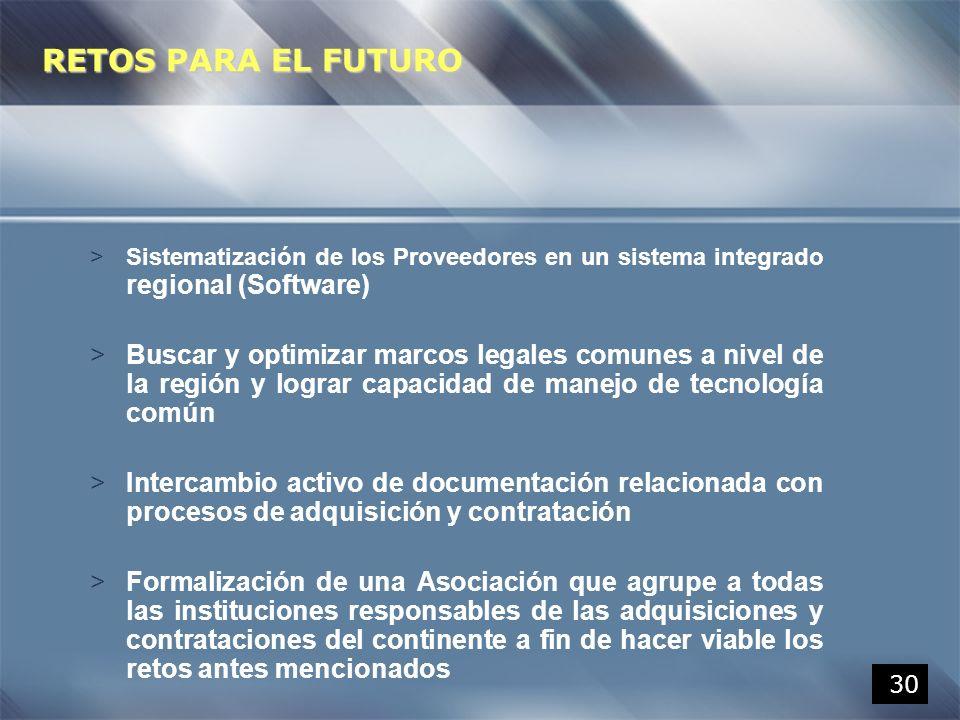 RETOS PARA EL FUTURO Sistematización de los Proveedores en un sistema integrado regional (Software)
