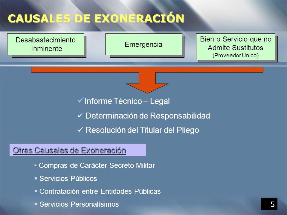 CAUSALES DE EXONERACIÓN