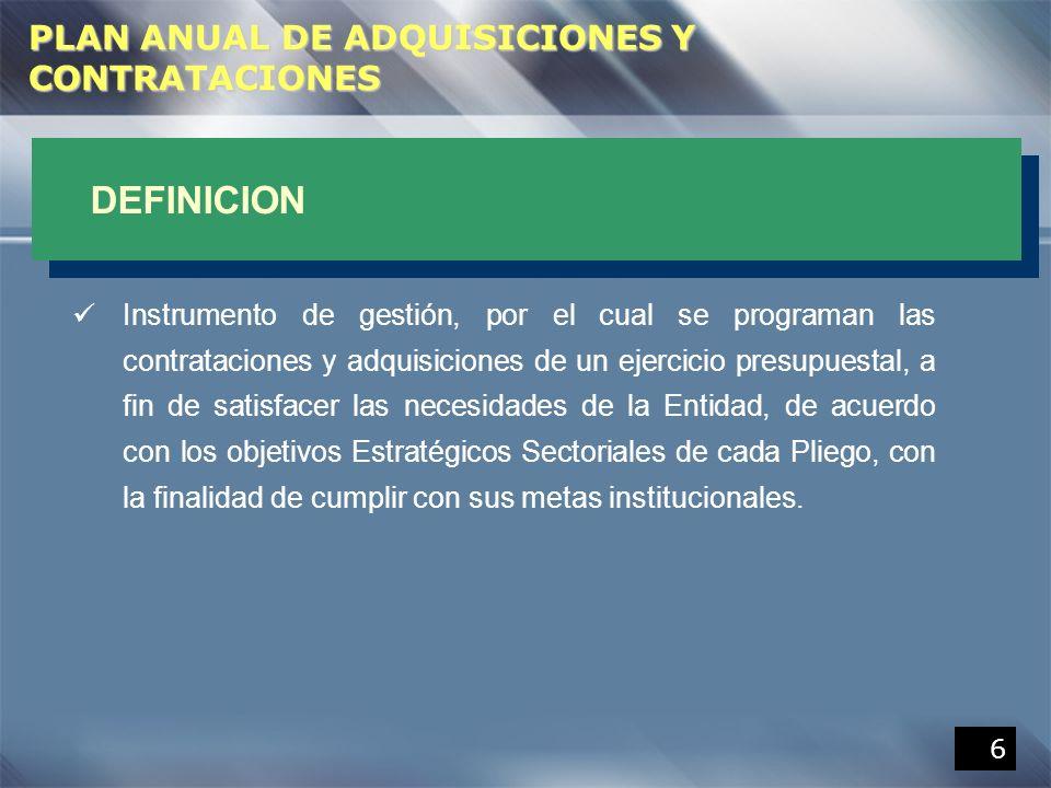 DEFINICION PLAN ANUAL DE ADQUISICIONES Y CONTRATACIONES