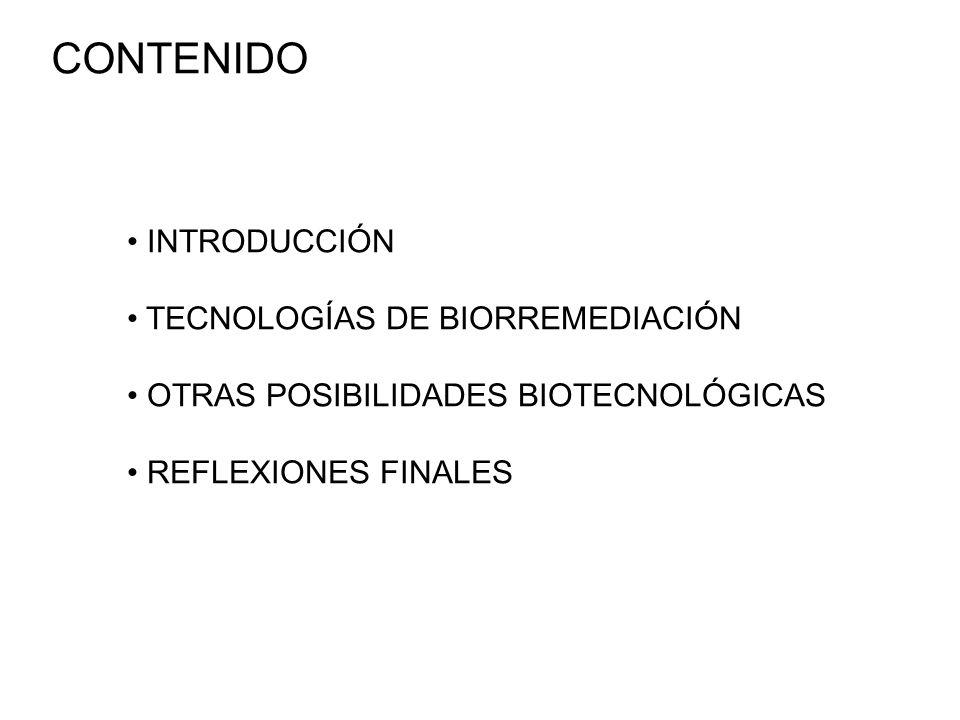 CONTENIDO INTRODUCCIÓN TECNOLOGÍAS DE BIORREMEDIACIÓN