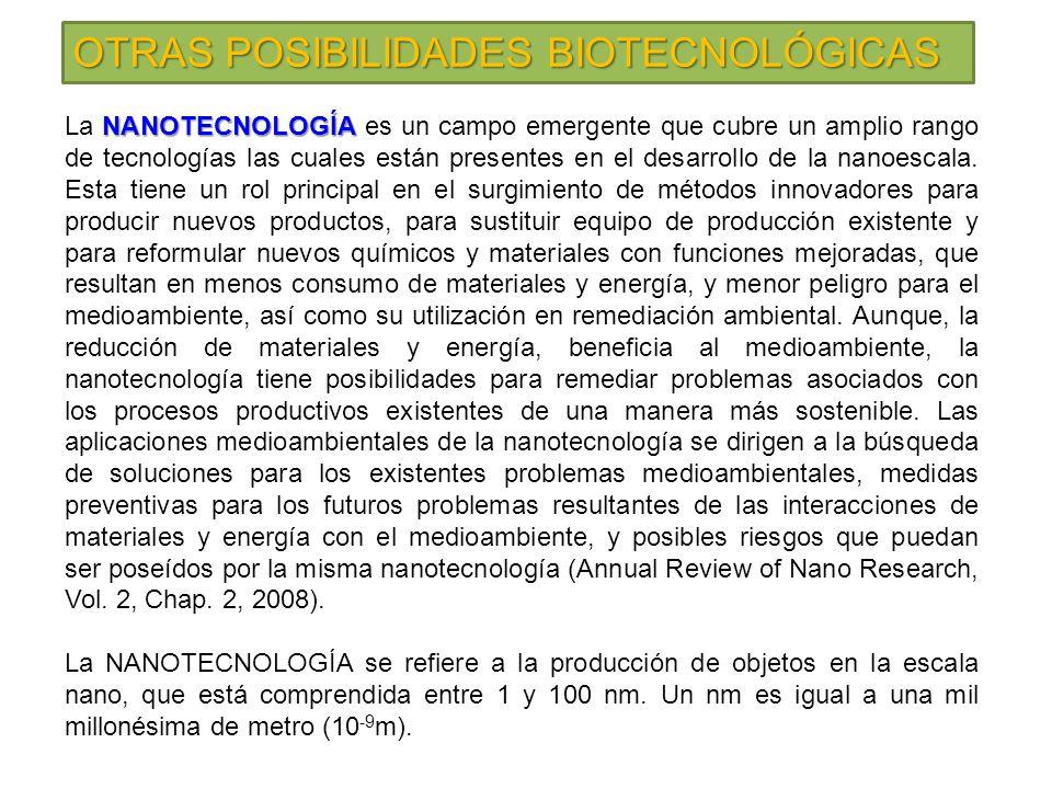 OTRAS POSIBILIDADES BIOTECNOLÓGICAS