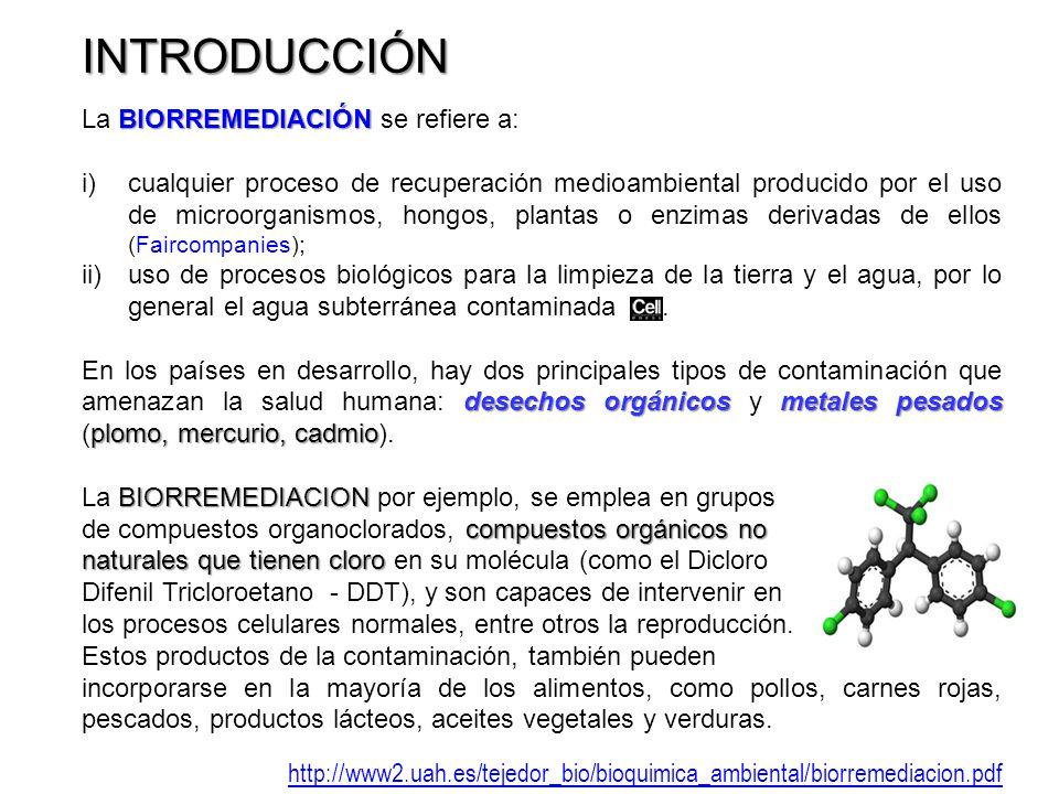 INTRODUCCIÓN La BIORREMEDIACIÓN se refiere a: