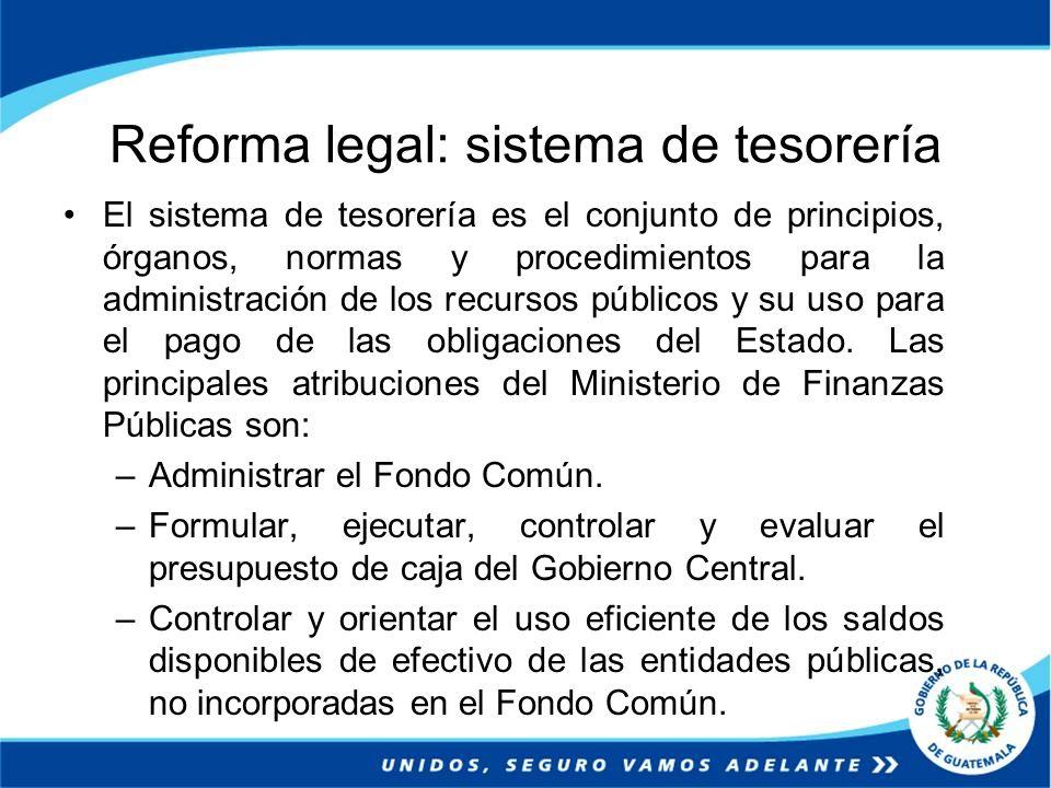 Reforma legal: sistema de tesorería