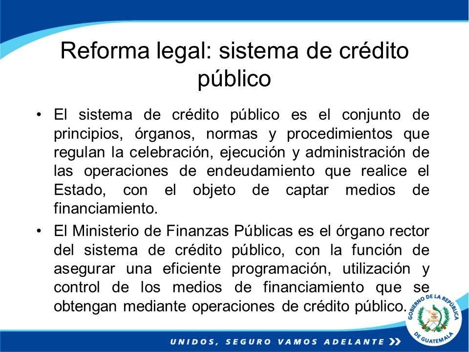 Reforma legal: sistema de crédito público