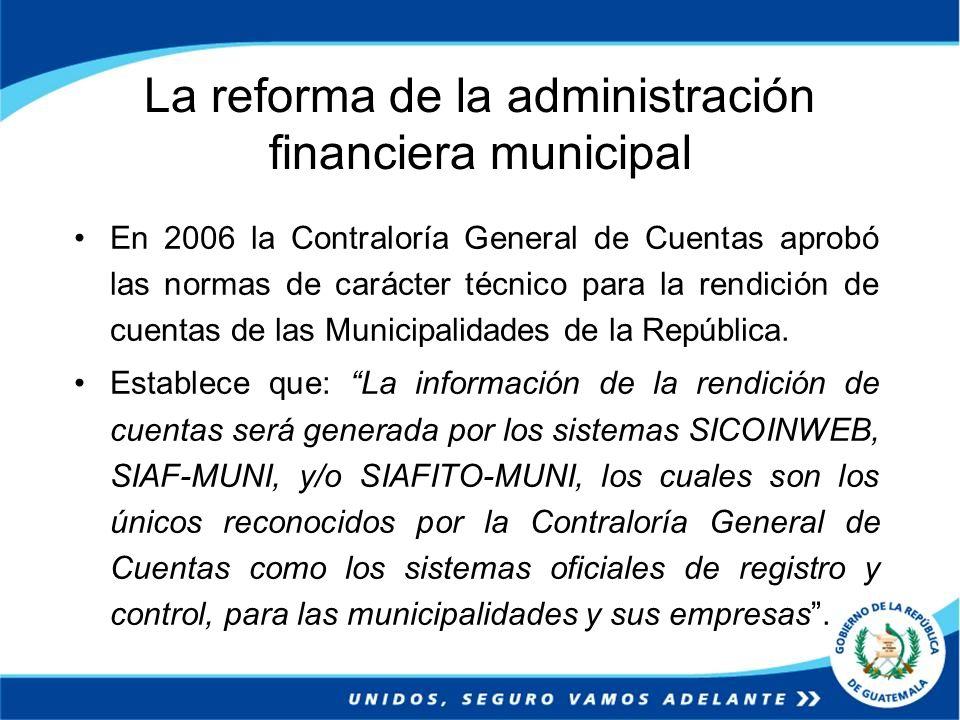La reforma de la administración financiera municipal