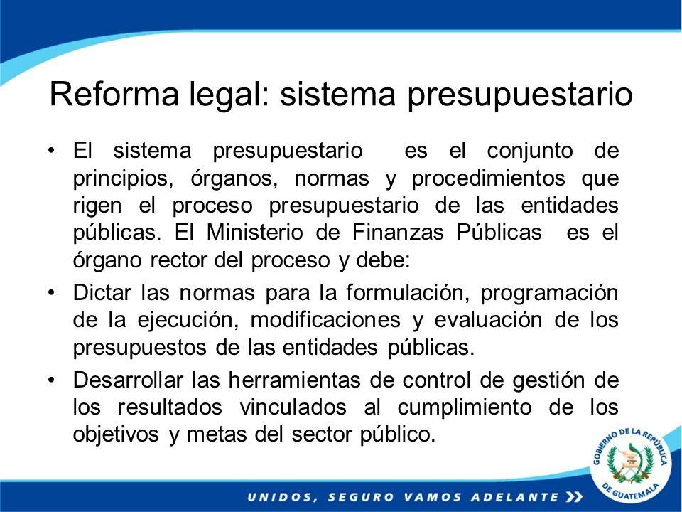 Reforma legal: sistema presupuestario