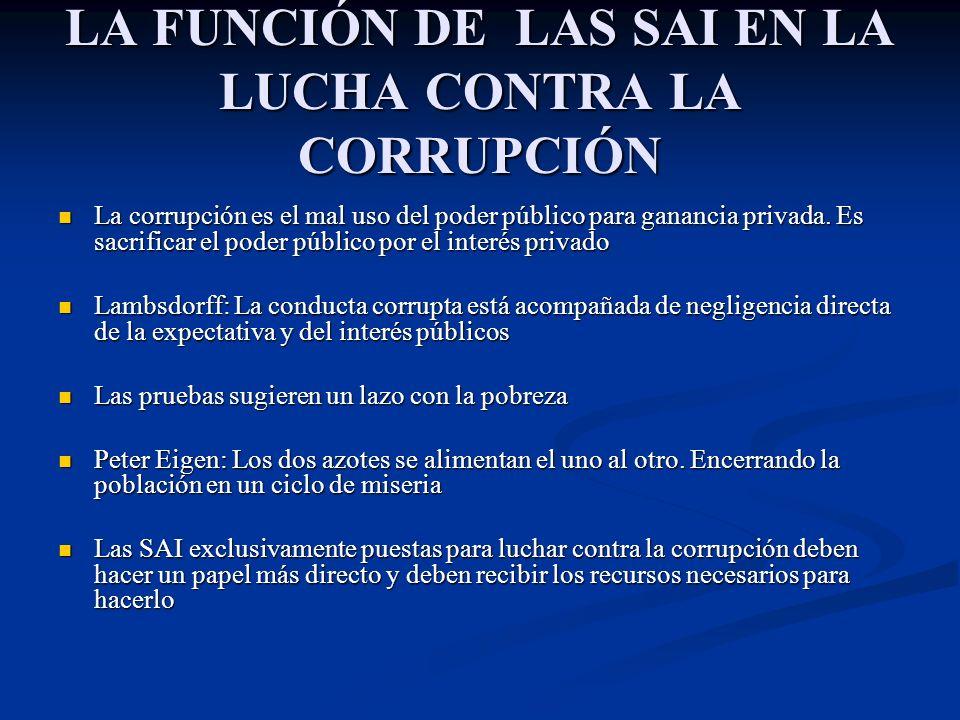 LA FUNCIÓN DE LAS SAI EN LA LUCHA CONTRA LA CORRUPCIÓN