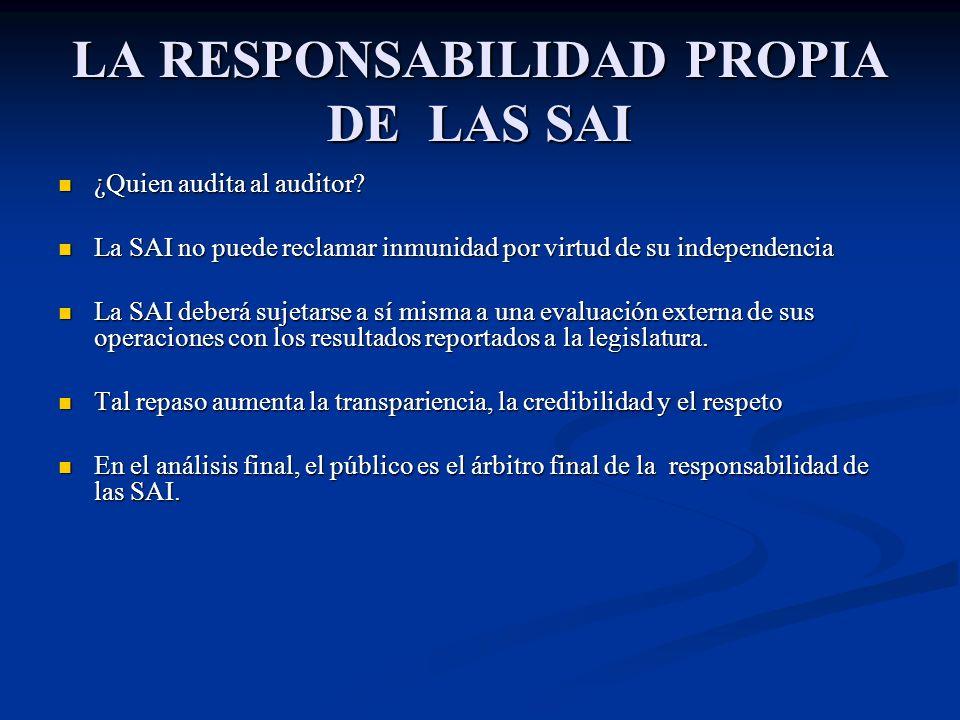 LA RESPONSABILIDAD PROPIA DE LAS SAI