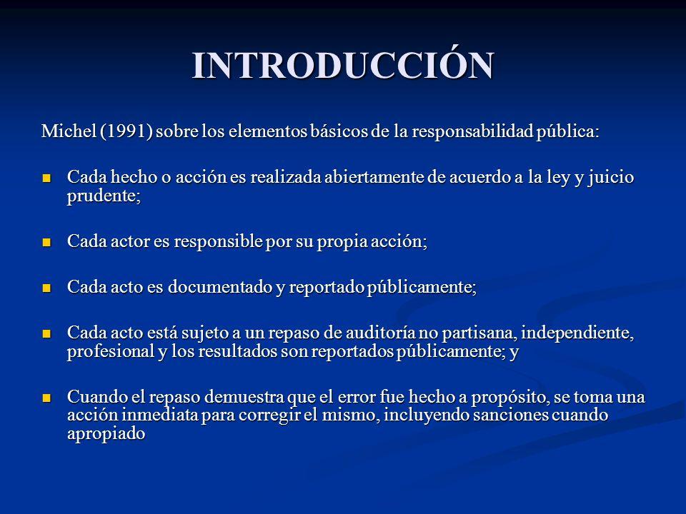 INTRODUCCIÓN Michel (1991) sobre los elementos básicos de la responsabilidad pública: