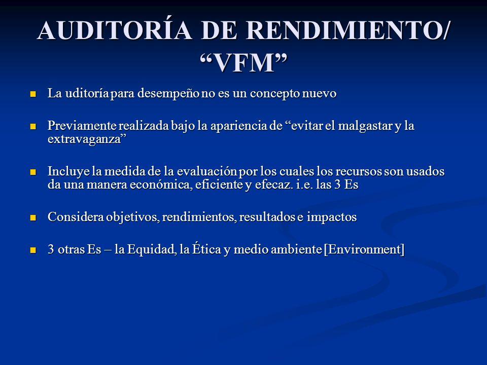 AUDITORÍA DE RENDIMIENTO/ VFM