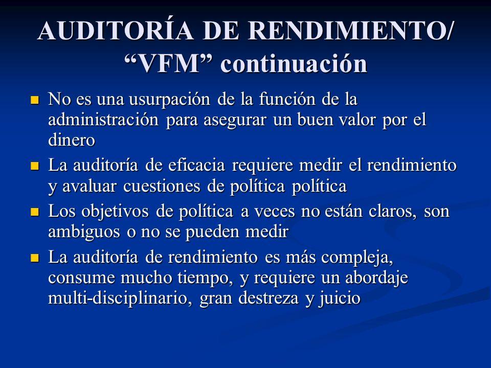 AUDITORÍA DE RENDIMIENTO/ VFM continuación