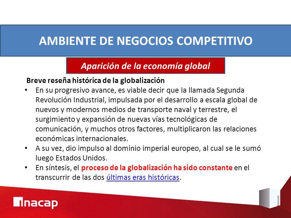 AMBIENTE DE NEGOCIOS COMPETITIVO Aparición de la economía global