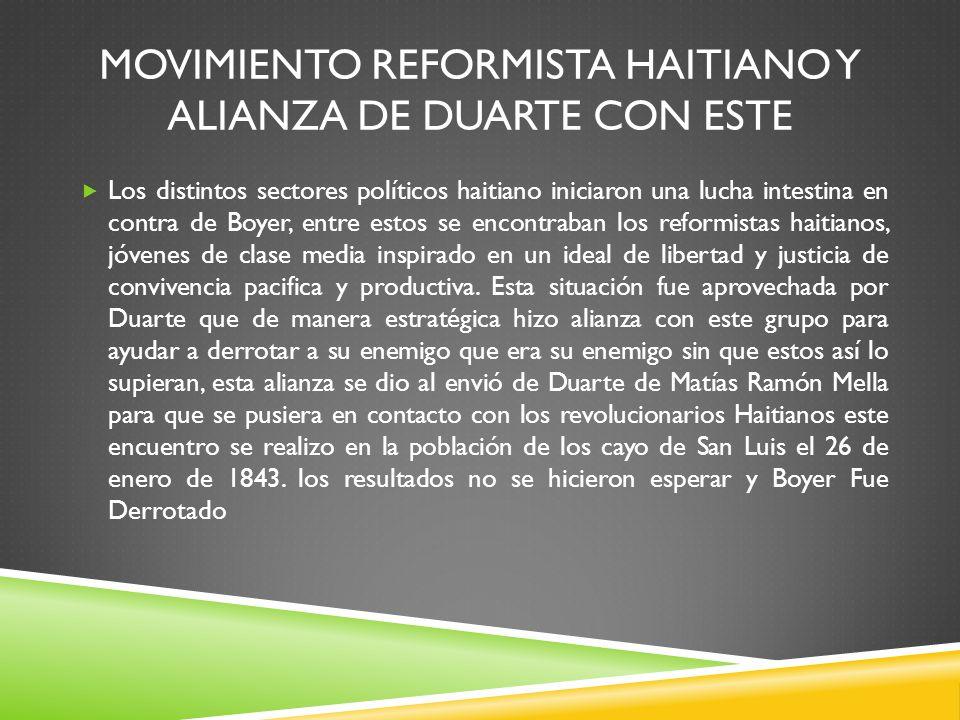 Movimiento reformista Haitiano y alianza de Duarte con Este