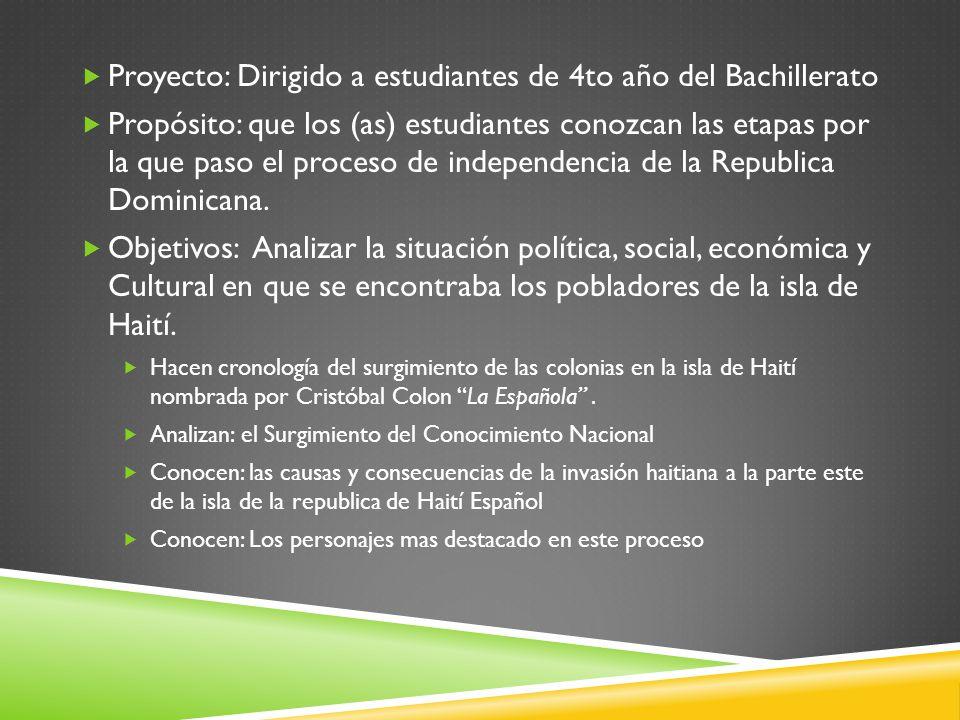 Proyecto: Dirigido a estudiantes de 4to año del Bachillerato