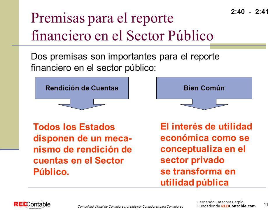 Premisas para el reporte financiero en el Sector Público