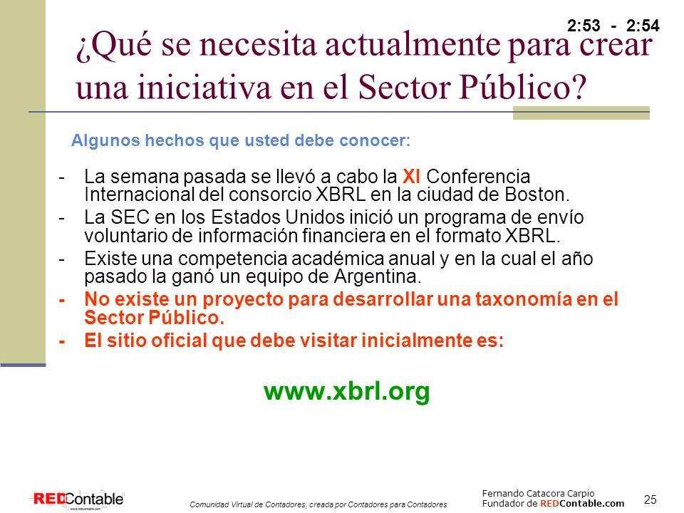 2:53 - 2:54 ¿Qué se necesita actualmente para crear una iniciativa en el Sector Público Algunos hechos que usted debe conocer:
