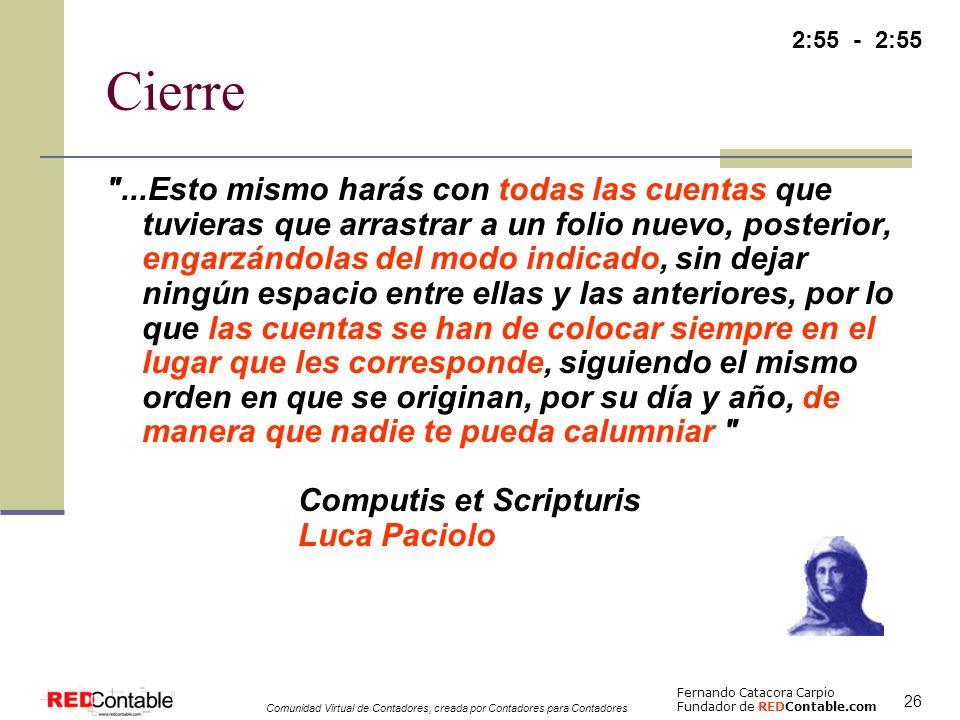 2:55 - 2:55 Cierre.