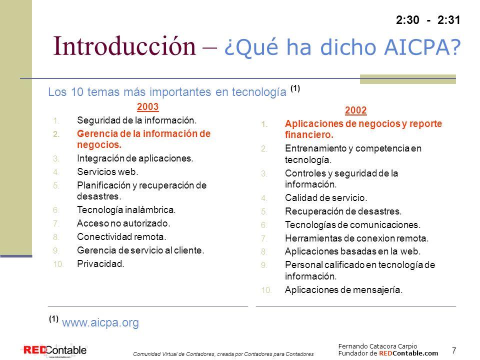 Introducción – ¿Qué ha dicho AICPA