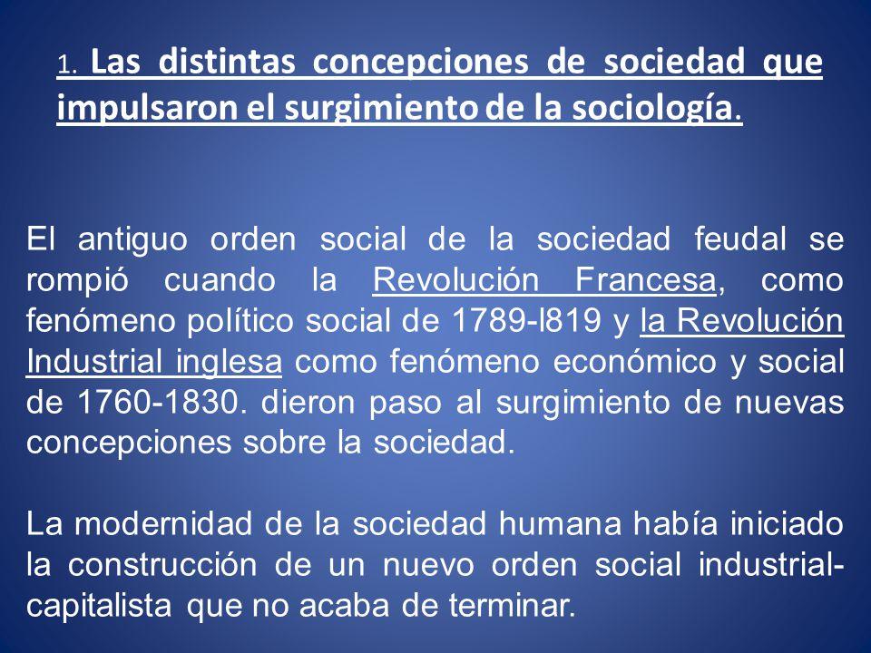 1. Las distintas concepciones de sociedad que impulsaron el surgimiento de la sociología.