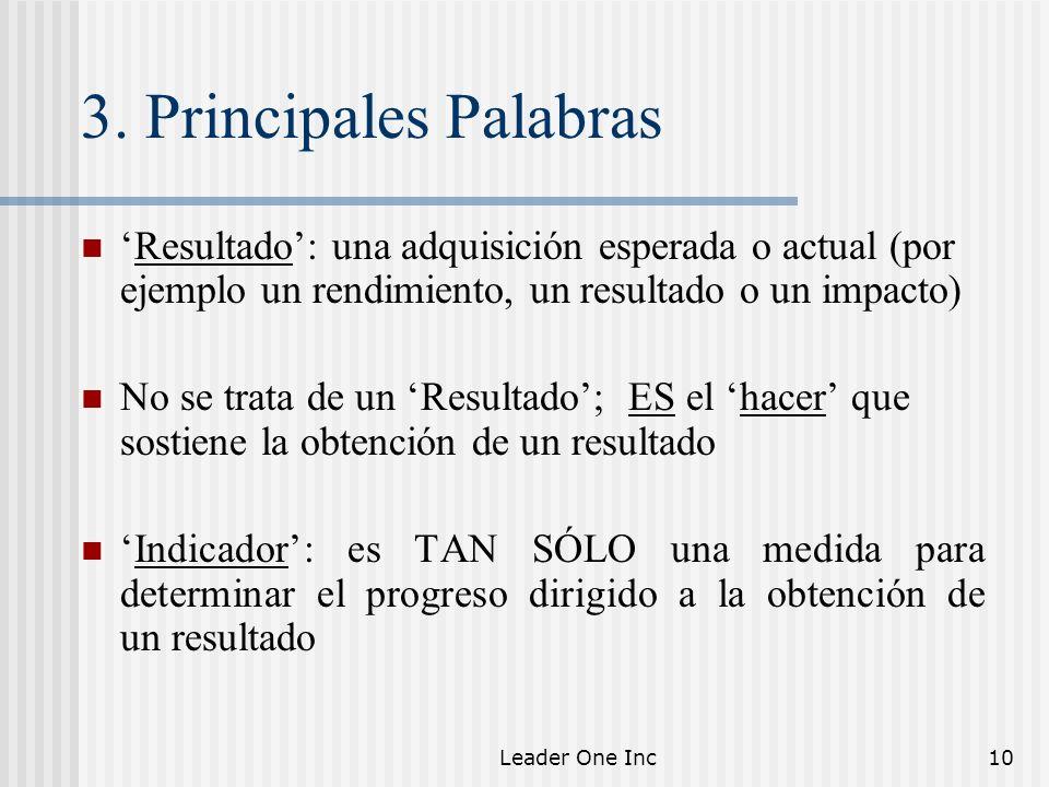 3. Principales Palabras 'Resultado': una adquisición esperada o actual (por ejemplo un rendimiento, un resultado o un impacto)