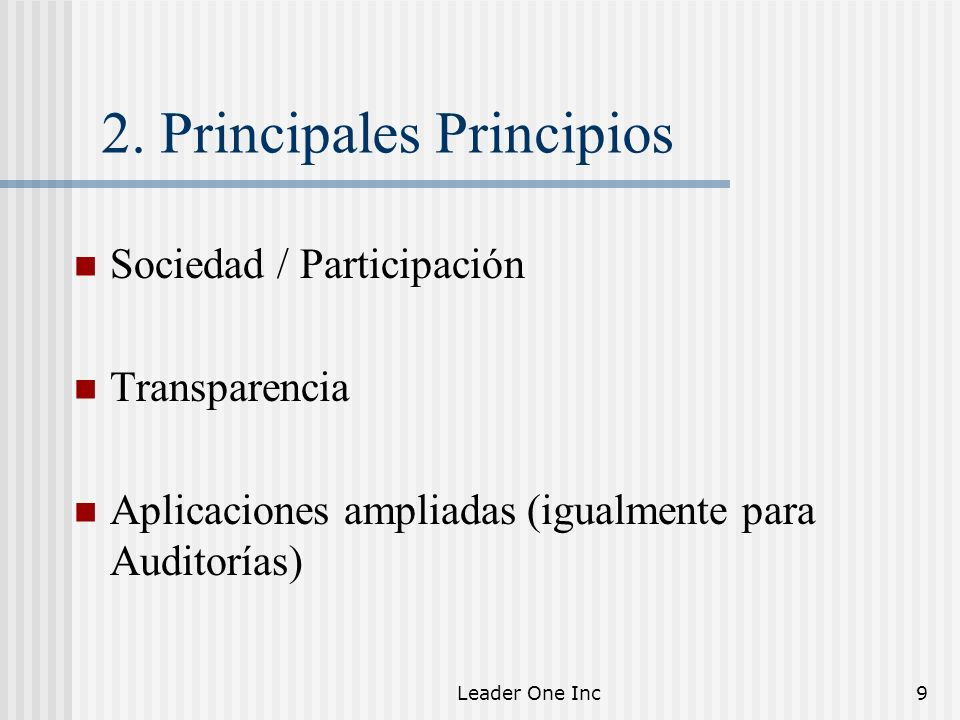 2. Principales Principios