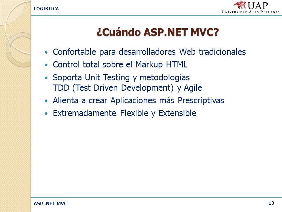 ¿Cuándo ASP.NET MVC Confortable para desarrolladores Web tradicionales. Control total sobre el Markup HTML.