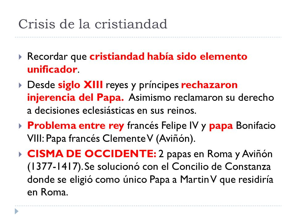 Crisis de la cristiandad