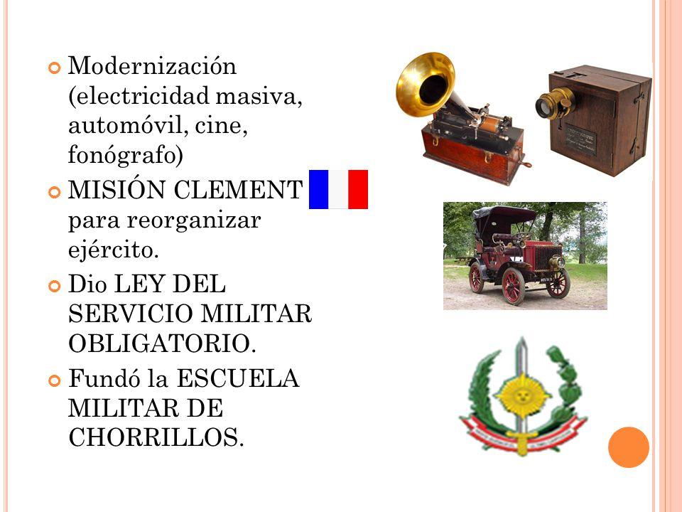 Modernización (electricidad masiva, automóvil, cine, fonógrafo)