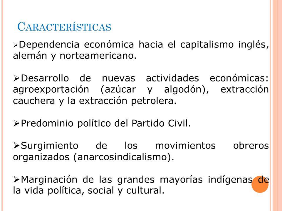 Características Dependencia económica hacia el capitalismo inglés, alemán y norteamericano.