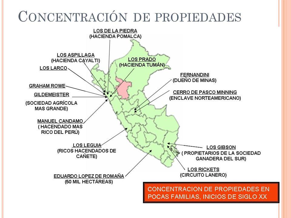 Concentración de propiedades (hacendados – terratenientes - enclaves)