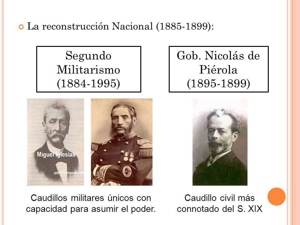 Segundo Militarismo (1884-1995) Gob. Nicolás de Piérola (1895-1899)