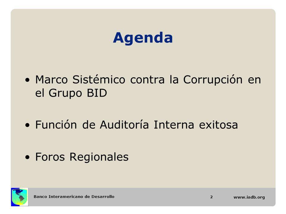 Agenda Marco Sistémico contra la Corrupción en el Grupo BID